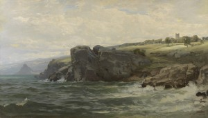 William Trost Richards Seascapes, Press Image.Tower on the Cornish Coastafter 1878William Trost Richards, American, 1833-1905 Oil on canvasGift of George Klauber#97.10