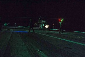 160207-N-FI568-037 ATLANTIC OCEAN (Feb. 7, 2015) An MH-60S Sea Hawk helicopter assigned to the Tridents of Helicopter Sea Combat Squadron (HSC) 9 undergoes pre-flight checks on the flight deck of the aircraft carrier USS Dwight D. Eisenhower (CVN 69) before departing the ship to rescue distressed mariners. Dwight D. Eisenhower is currently underway preparing for the upcoming Board of Inspection and Survey (INSURV). (U.S. Navy photo by Mass Communication Specialist 3rd Class Taylor L. Jackson/Released)