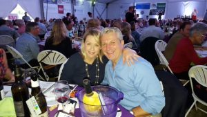 Crystal Cameron Schaad, owner of Crystal Palate with her husband Tom Schaad of WAVY TV at the 2015 Chesapeake Bay Wine Classic.
